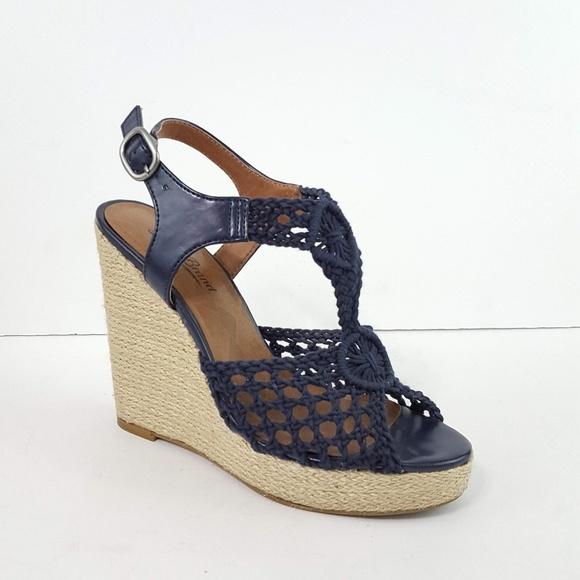 4e59f628b1f Lucky Brand Shoes -  Lucky Brand  Rilo Blue Crochet Wedge Sandals